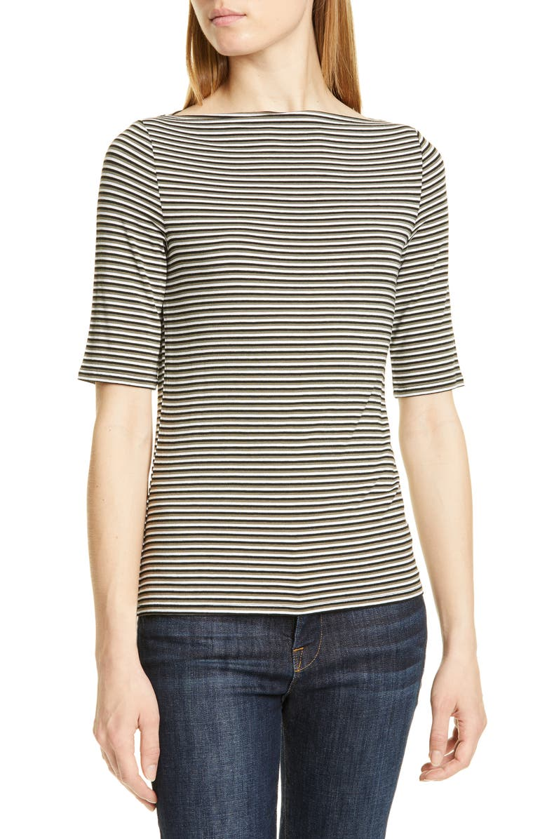 NORDSTROM SIGNATURE Stripe Boatneck Top, Main, color, 001