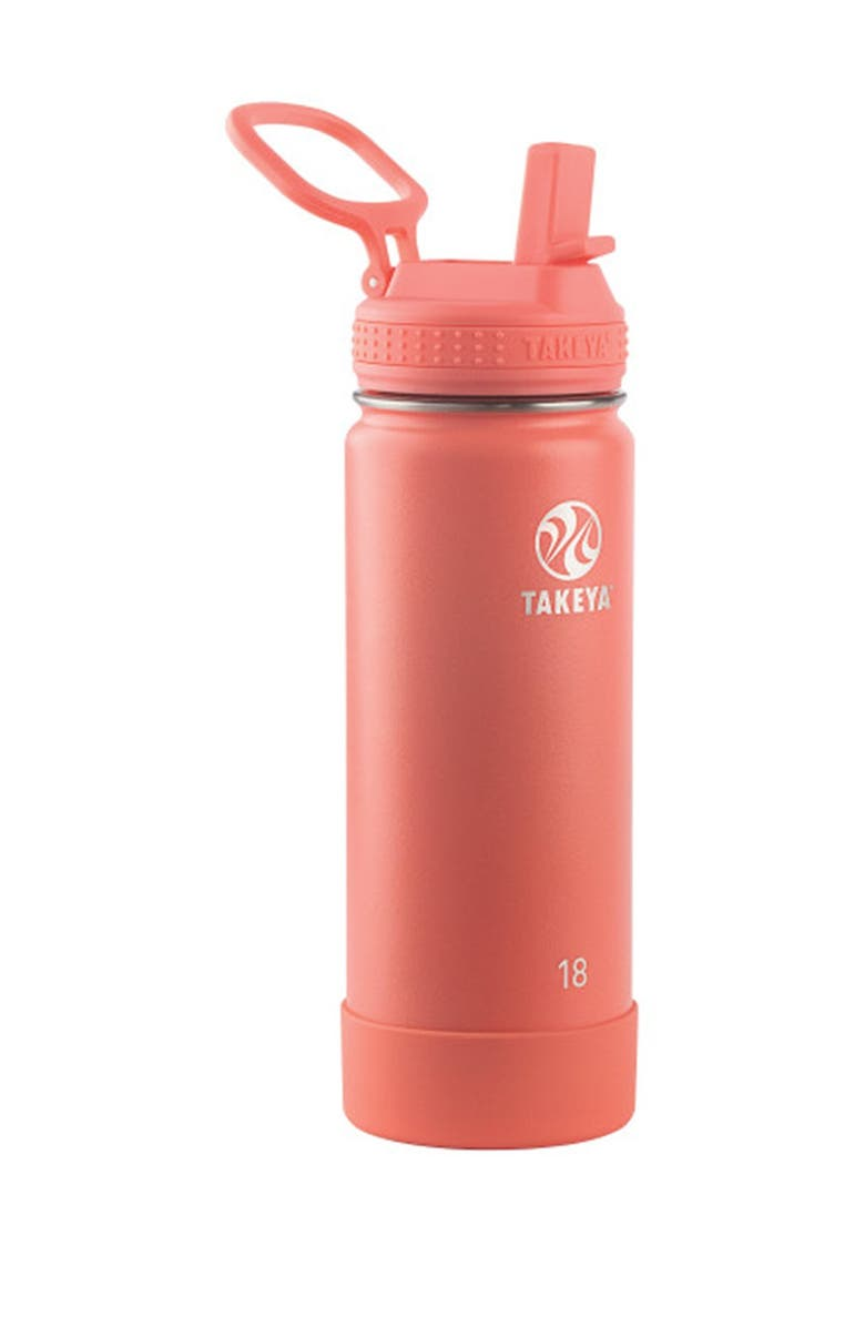 TAKEYA Coral Actives Insulated 18 oz. Straw Lid Stainless Steel Bottle, Main, color, CORAL