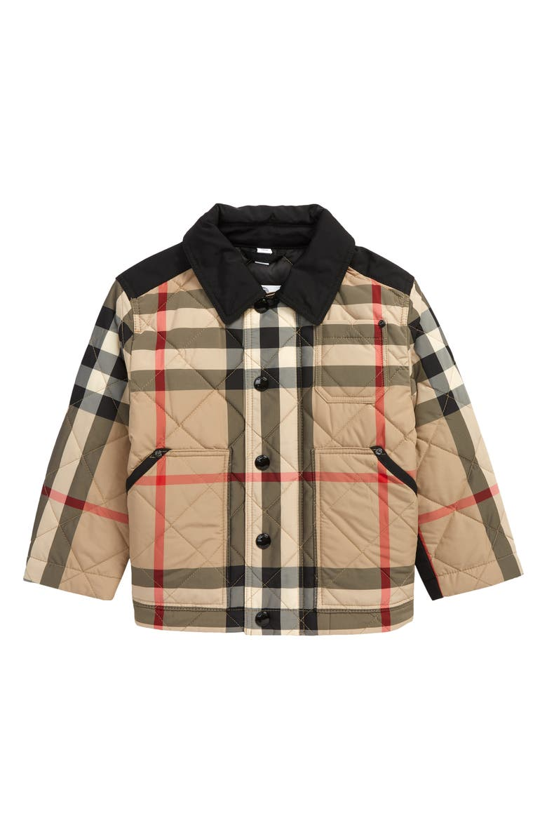 BURBERRY Kids' Renfred Check Quilted Jacket, Main, color, ARCHIVE BEIGE IP CHK