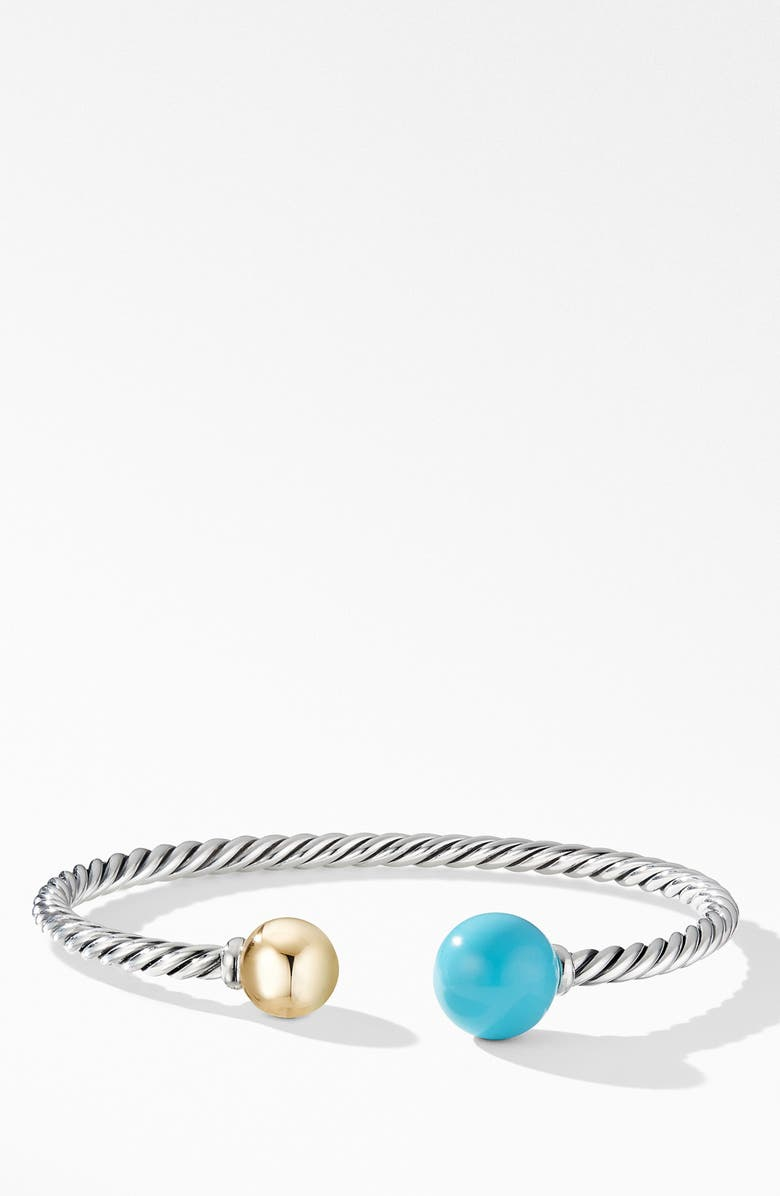 DAVID YURMAN Solari XL Cable Bracelet with Reconstituted Turquoise, Gold Dome and 14K Yellow Gold, Main, color, 440