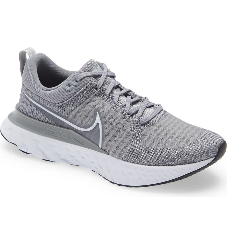 NIKE React Infinity Run Flyknit 2 Running Shoe, Main, color, PARTICLE GREY/ WHITE/ BLACK