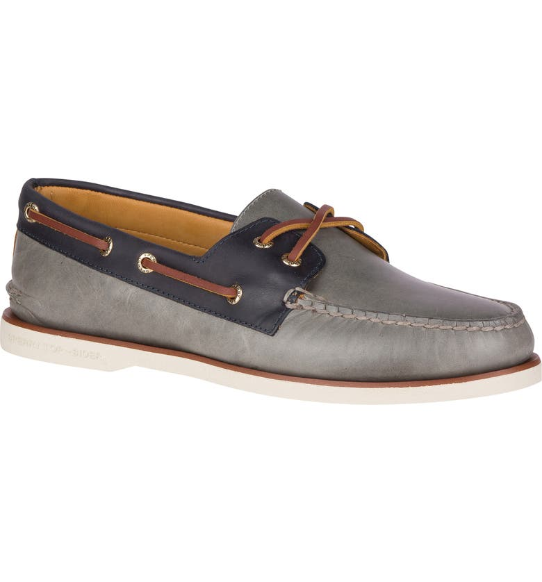 SPERRY Authentic Original Cross Lace Leather Boat Shoe, Main, color, GREY/NAVY