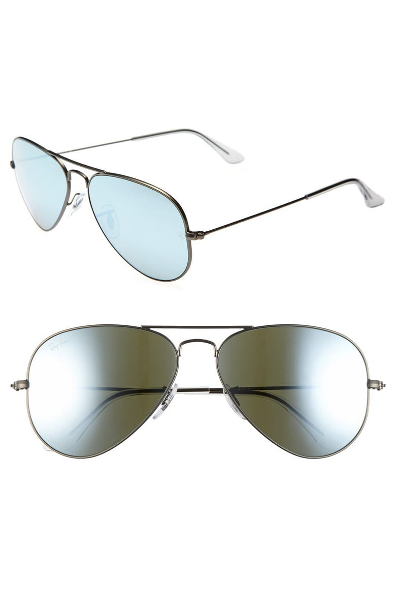 RAY-BAN Standard Original 58mm Aviator Sunglasses, Main, color, GREEN BLUE