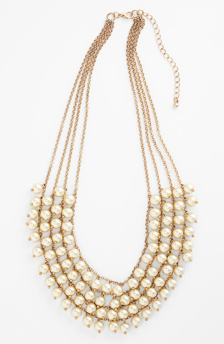 STEPHAN & CO. Multistrand Faux Pearl Statement Necklace, Main, color, Gold