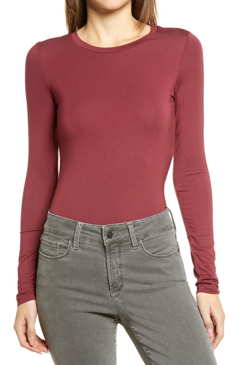 HALOGEN<SUP>®</SUP> Long Sleeve Modal Blend Tee, Main, color, RED CORDOVAN