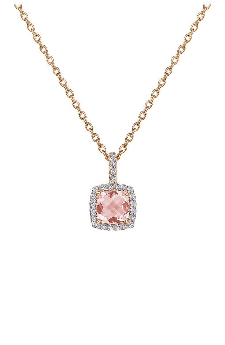 LAFONN 18K Rose Gold Plated Sterling Silver Faceted Simulated Morganite & Micro Pave Simulated Diamond Necklace, Main, color, WHITE-MORGANITE