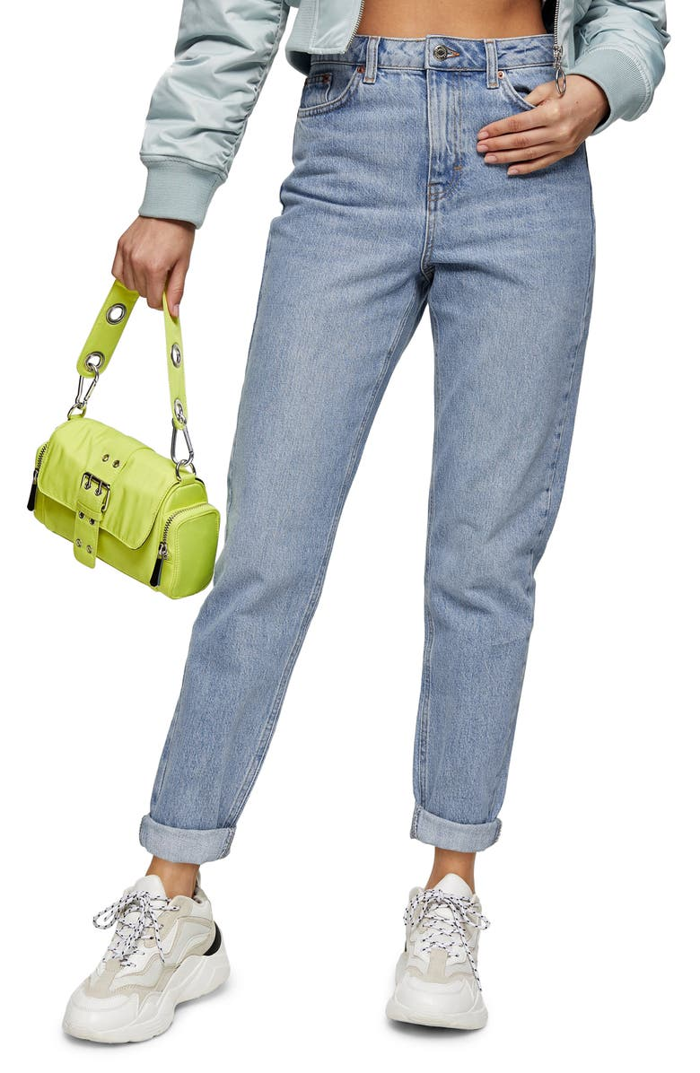 TOPSHOP Bleach Mom Jeans, Main, color, BLEACH