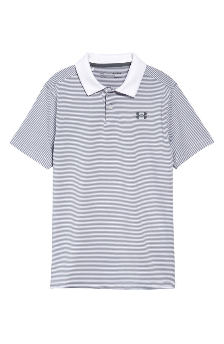 UNDER ARMOUR Kids' Performance Stripe Polo, Main, color, WHITE / HALO GRAY / PITCH GRAY