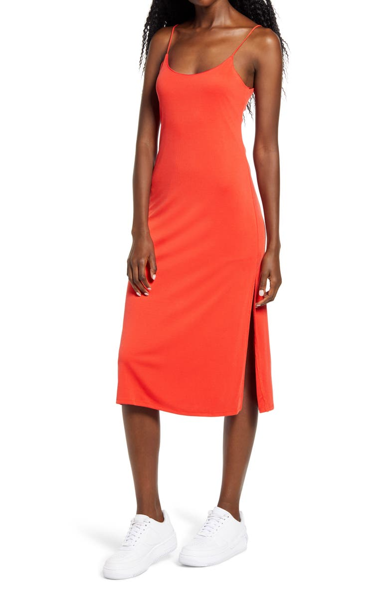 KIRIOUS Side Slit Tank Dress, Main, color, BRIGHT RED