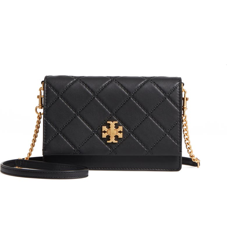 TORY BURCH Mini Georgia Quilted Leather Shoulder Bag, Main, color, Black