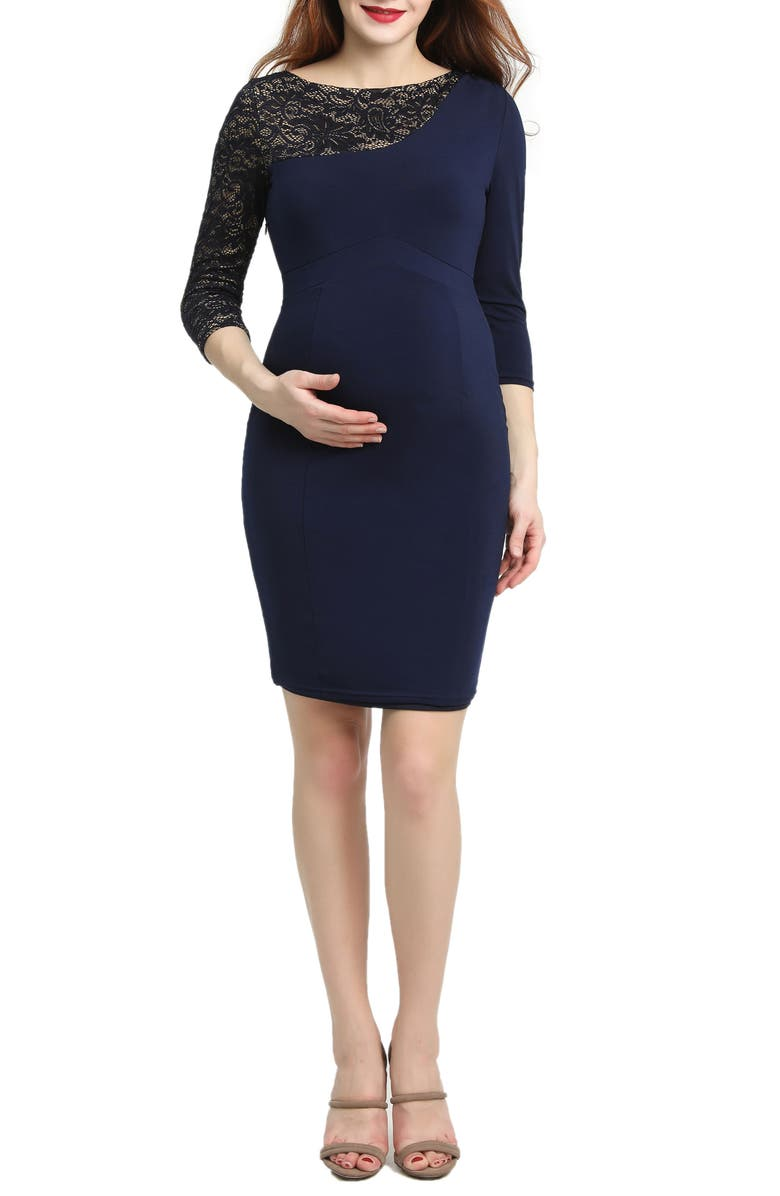 KIMI AND KAI Cheyenne Lace Accent Maternity Dress, Main, color, NAVY