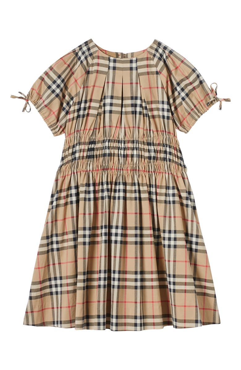 BURBERRY Joyce Archive Smocked Dress, Main, color, ARCHIVE BEIGE