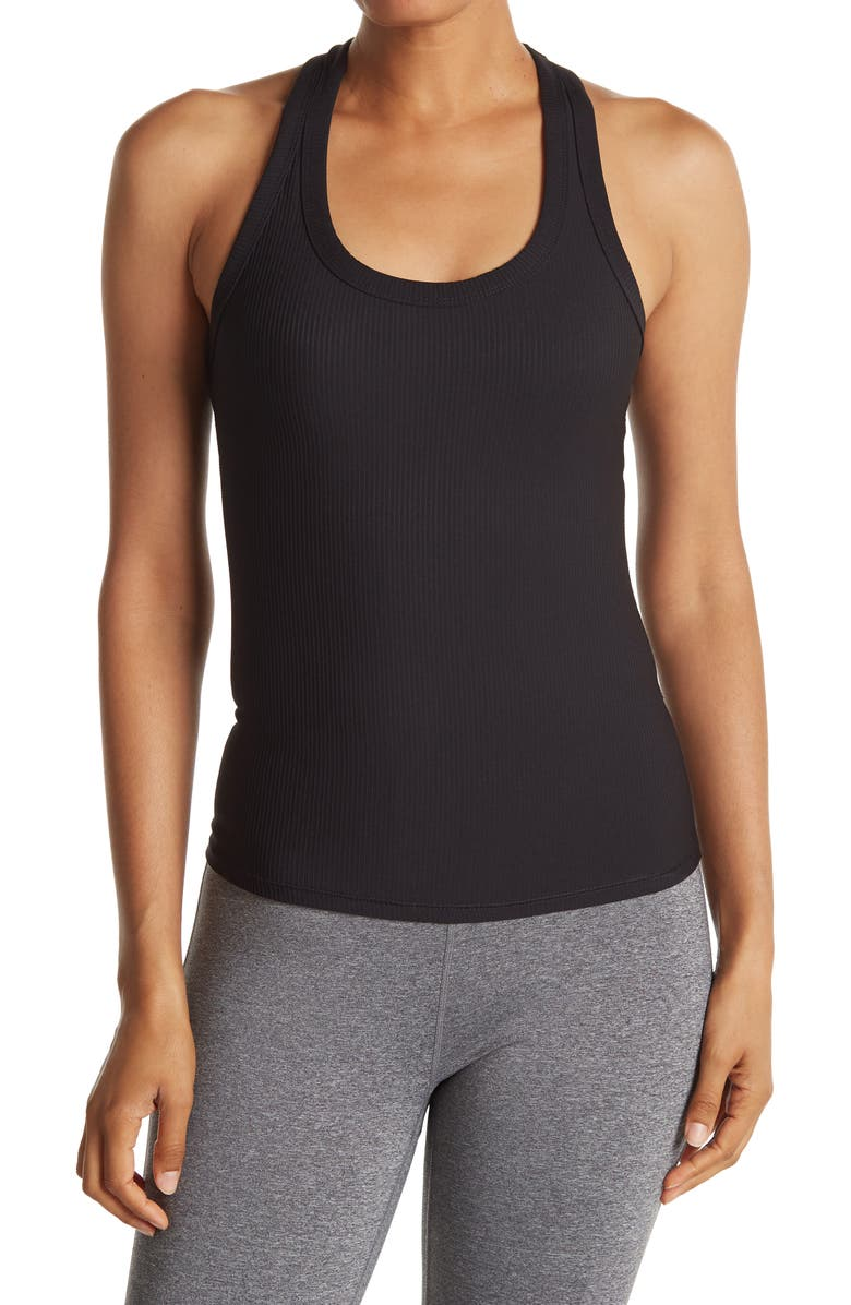 90 DEGREE BY REFLEX Ribbed Racerback Tank Top, Main, color, BLACK