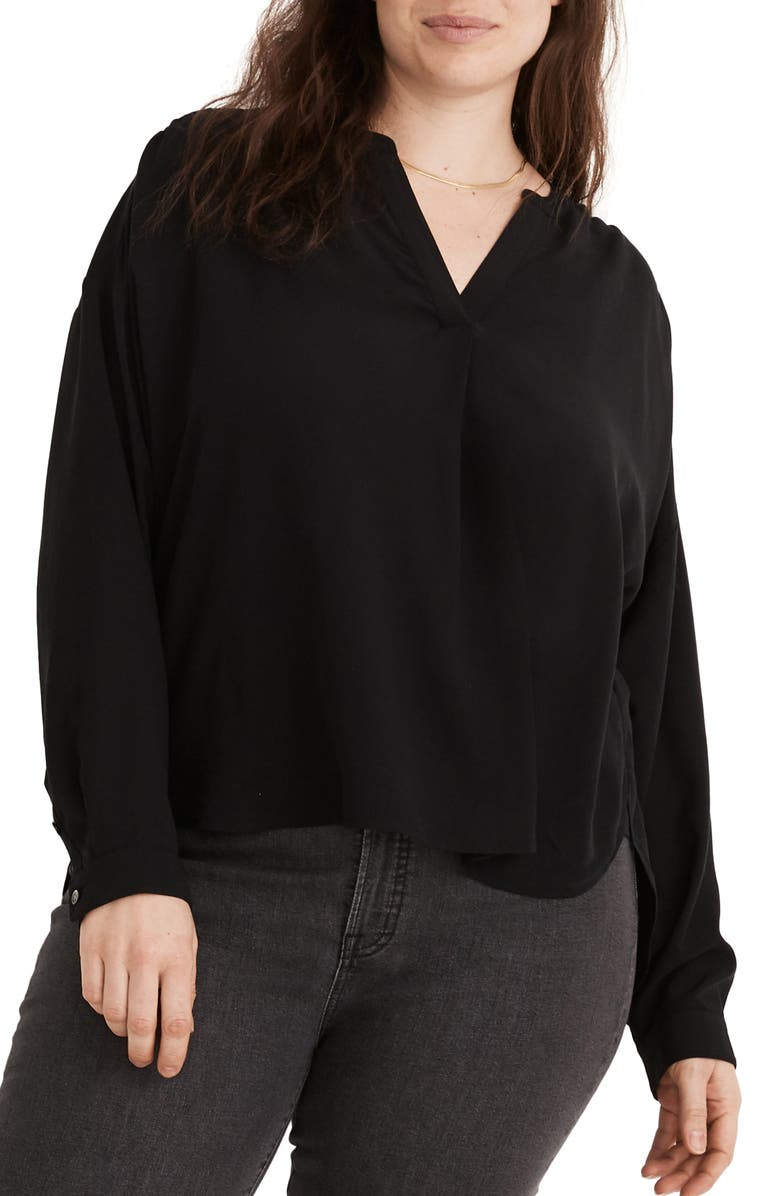 MADEWELL Sandwashed Popover Top, Main, color, 001