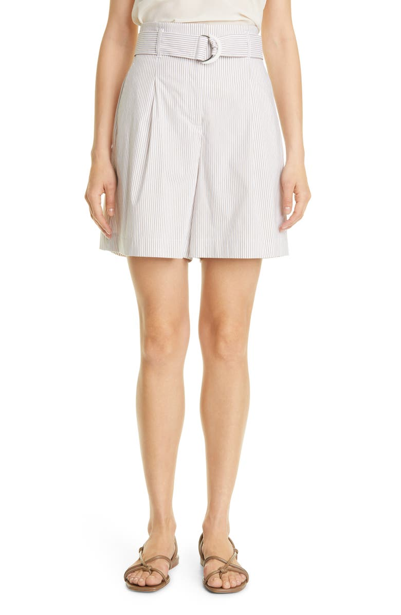 LAFAYETTE 148 NEW YORK Degraw Stripe Pleated Shorts, Main, color, SMOKED TAUPE MULTI