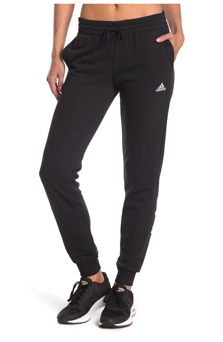 ADIDAS Essentials Slim Tapered Cuffed Pants, Main, color, BLACK/WHITE