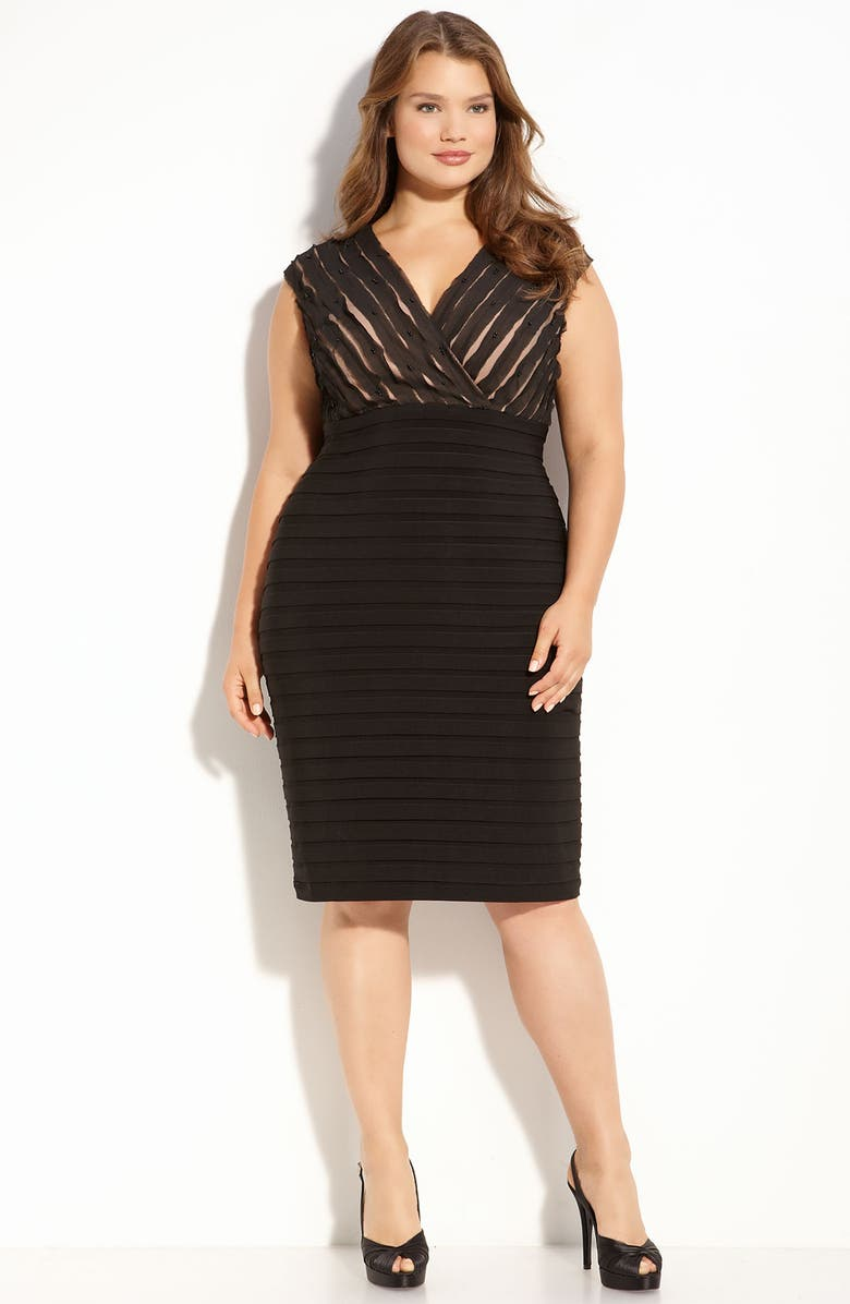 ADRIANNA PAPELL Banded Dress with Chiffon Bodice, Main, color, Black