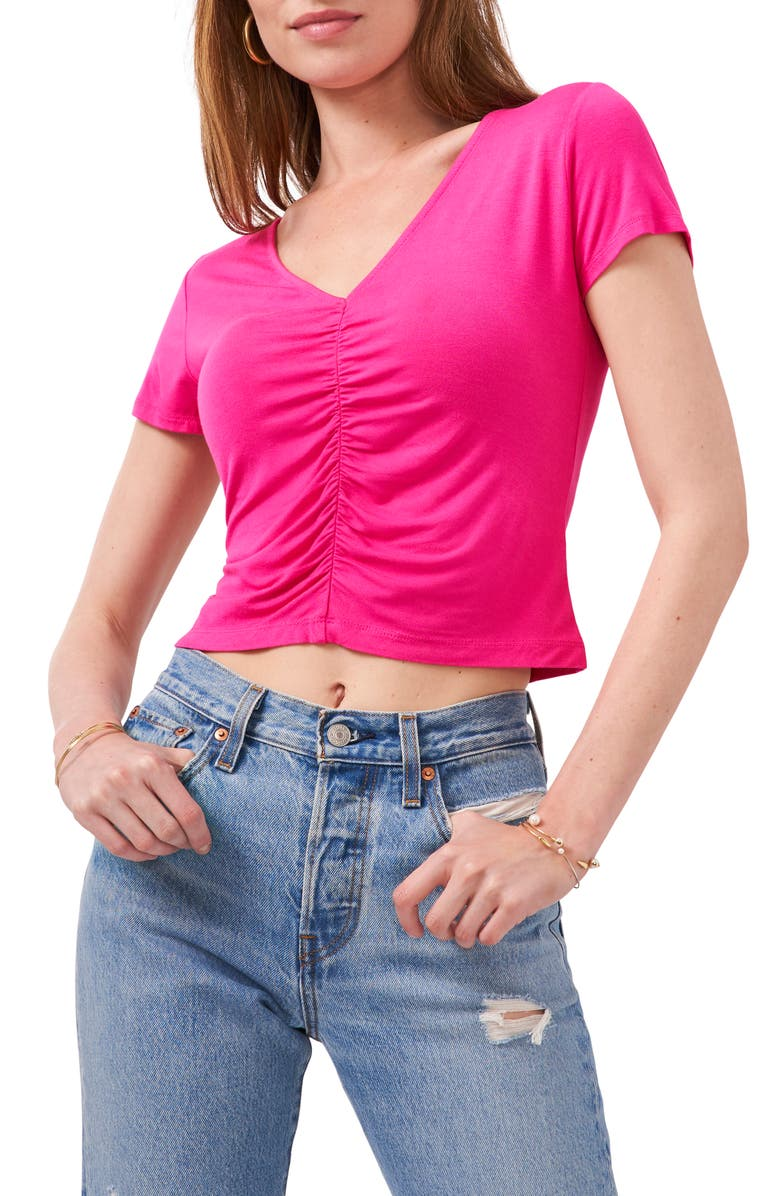 1.STATE Ruched Front Crop Top, Main, color, MAUI ROSE