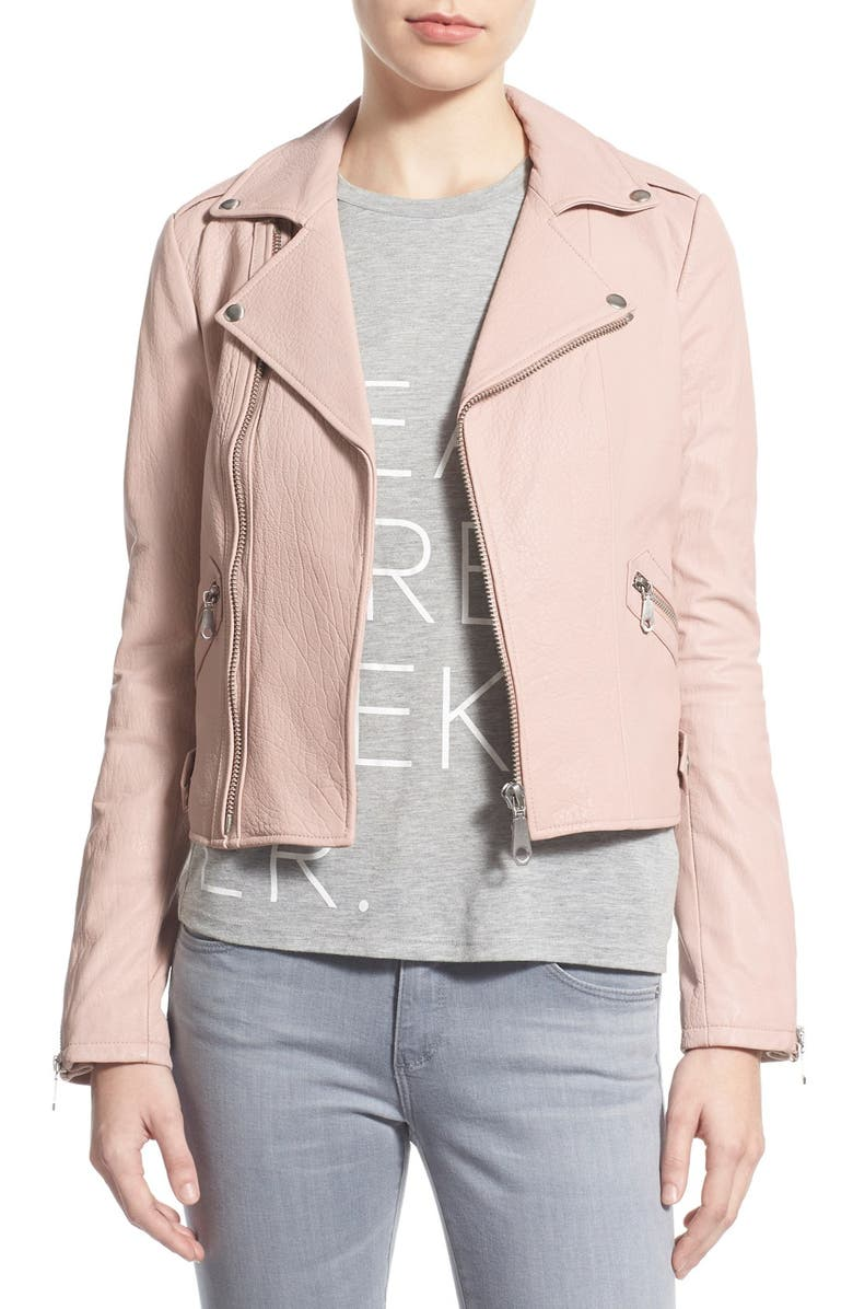 REBECCA MINKOFF Pebble Leather Jacket, Main, color, NUDE PINK