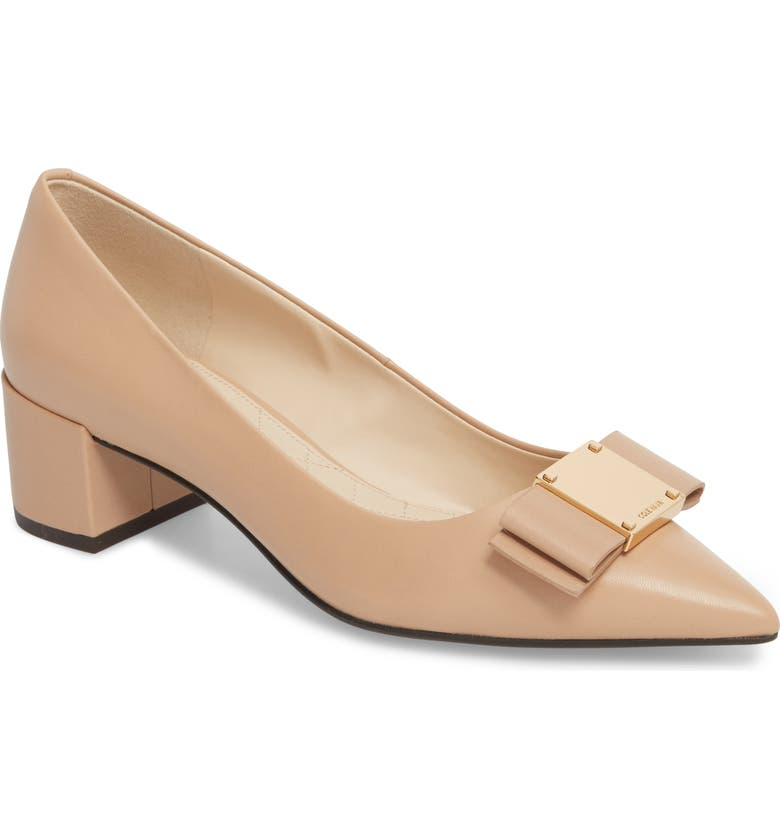COLE HAAN Tali Modern Waterproof Bow Pump, Main, color, NUDE LEATHER