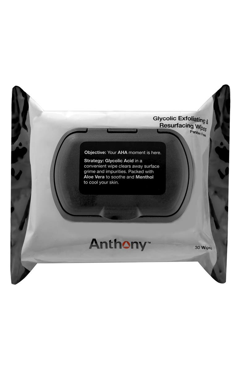ANTHONY<SUP>™</SUP> Glycolic Exfoliating & Resurfacing Wipes, Main, color, No Color