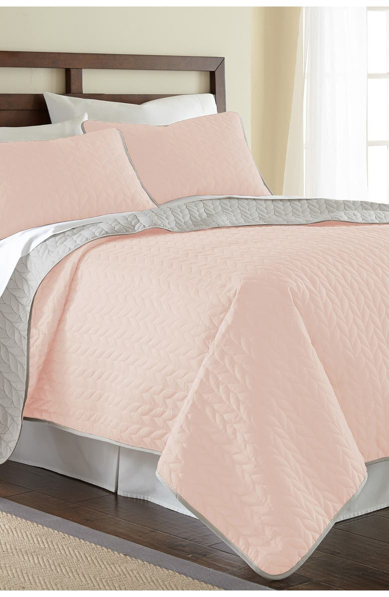 MODERN THREADS 3-Piece Queen Solid Reversible Coverlet Set - Blush/Silver, Main, color, BLUSH/SILVER