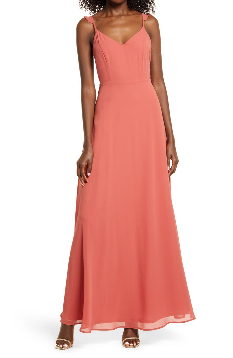 LULUS Flutter Strap A-Line Chiffon Gown, Main, color, RUSTY ROSE