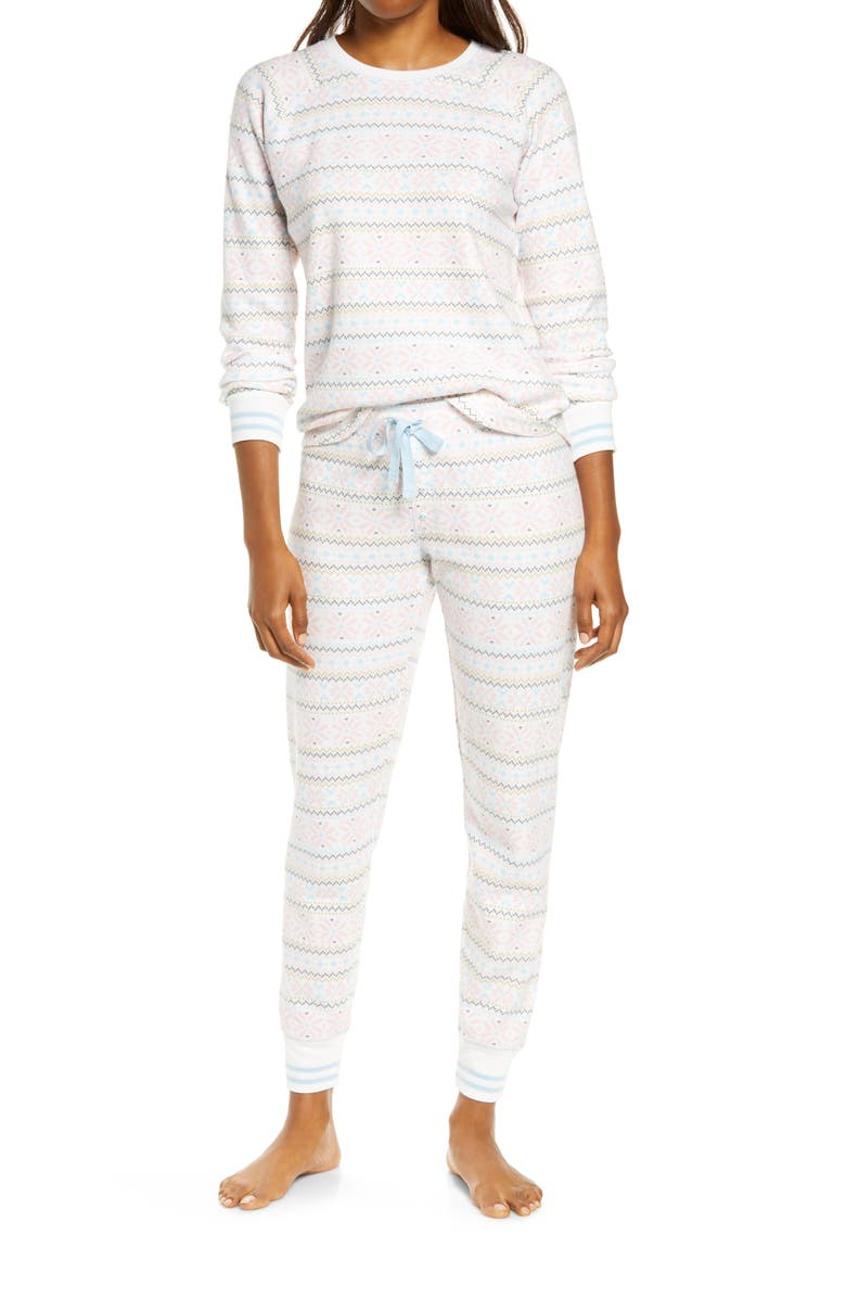 PJ SALVAGE Thermal Print Pajamas, Main, color, NATURAL