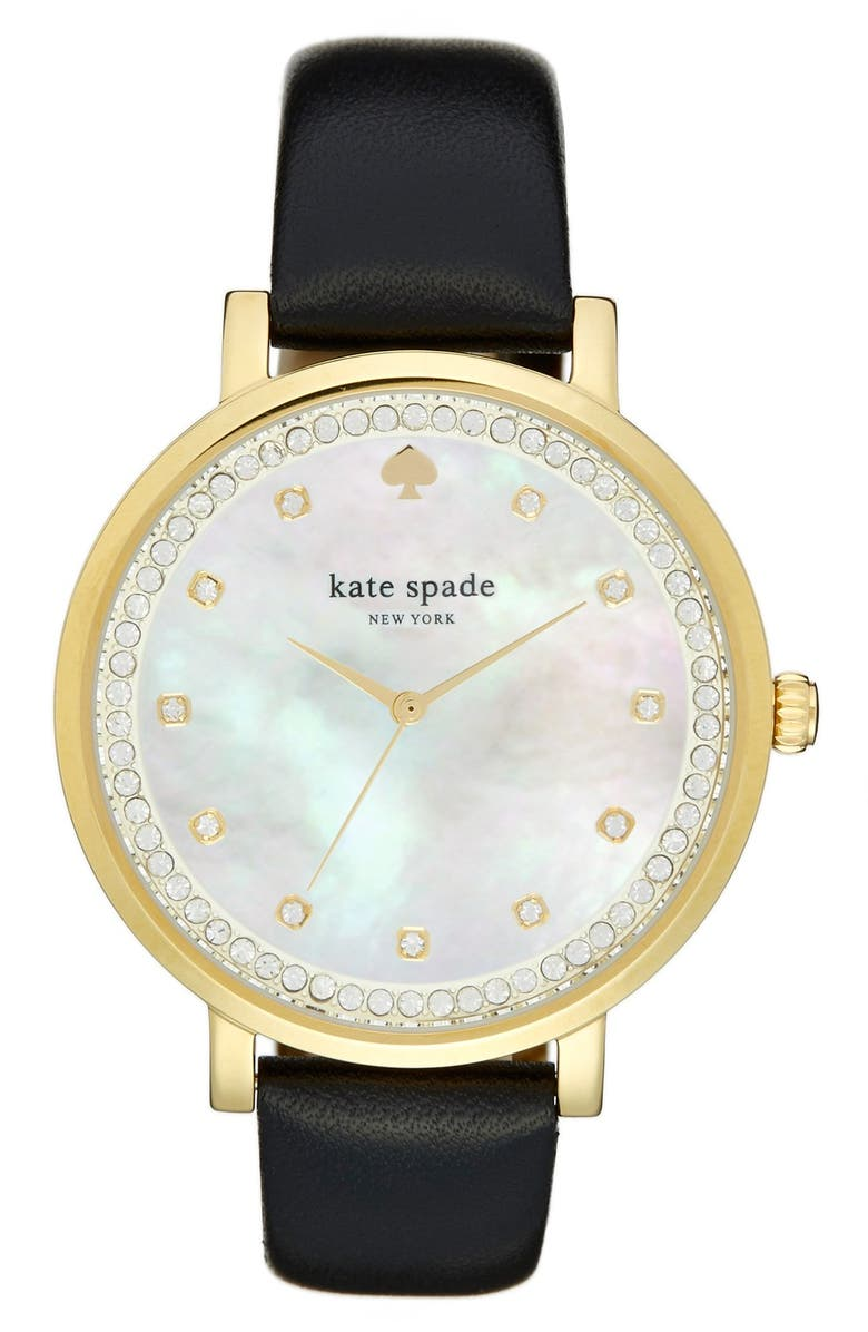 KATE SPADE NEW YORK 'monterrey' leather strap watch, 38mm, Main, color, Black