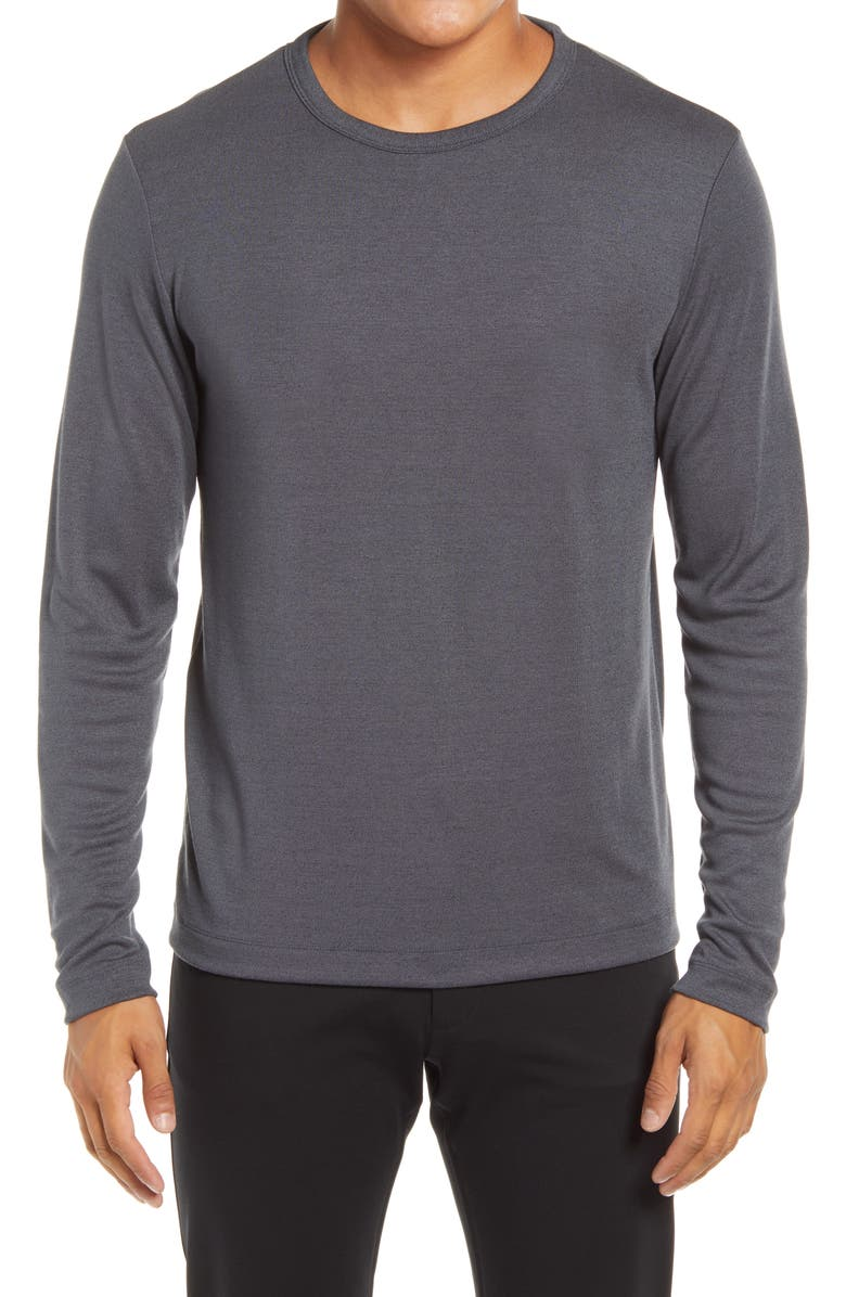 THEORY Gaskell Long Sleeve Crewneck Men's Shirt, Main, color, INKED MULTI - QRV