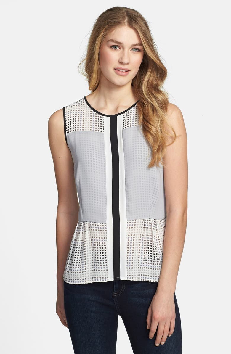 HALOGEN<SUP>®</SUP> Sheer Overlay Pleated Peplum Top, Main, color, 020