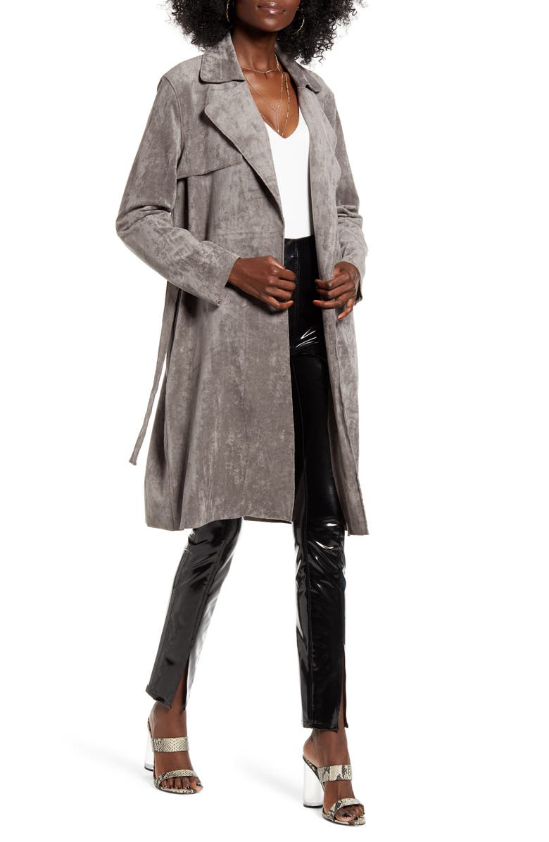 BLANKNYC Faux Suede Trench Coat, Main, color, 020