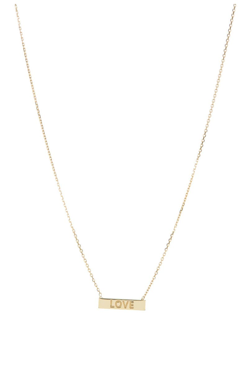 CANDELA JEWELRY 10K Yellow Gold Love Mini Bar Pendant Necklace, Main, color, GOLD