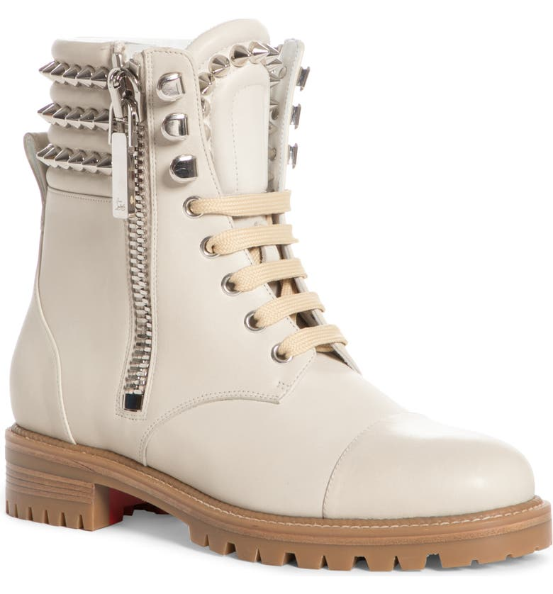 CHRISTIAN LOUBOUTIN Winter Spikes Lace-Up Boot, Main, color, WHITE