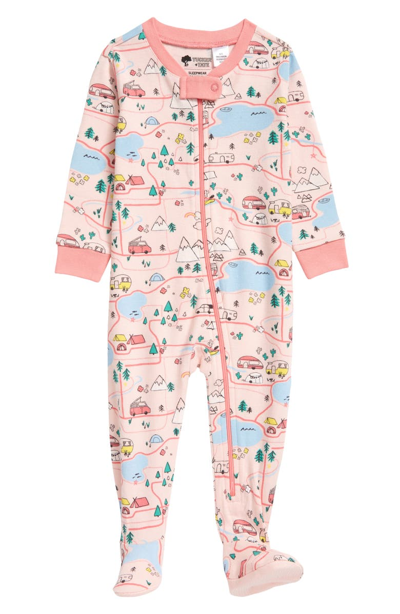 TUCKER + TATE Print Fitted One-Piece Pajamas, Main, color, PINK ENGLISH ROAD MAP