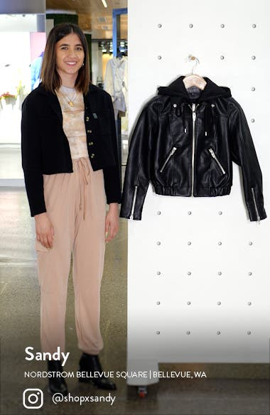 Faux Leather Bomber Jacket with Removable Hood, sales video thumbnail