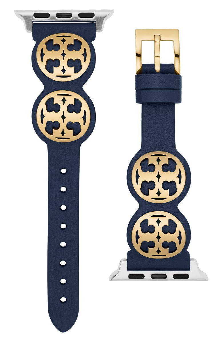 TORY BURCH The Miller Leather Strap for Apple Watch<sup>®</sup> 38mm/40mm, Main, color, NAVY