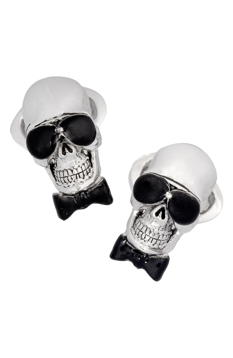 JAN LESLIE Skull With Sunglasses Cuff Links, Main, color, 000