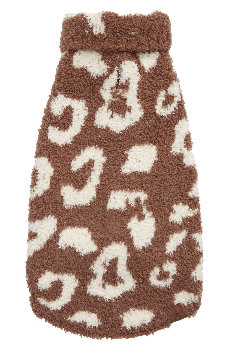 BAREFOOT DREAMS<SUP>®</SUP> CozyChic<sup>™</sup> Leopard Dog Sweater, Main, color, CHESTNUT/ CREAM
