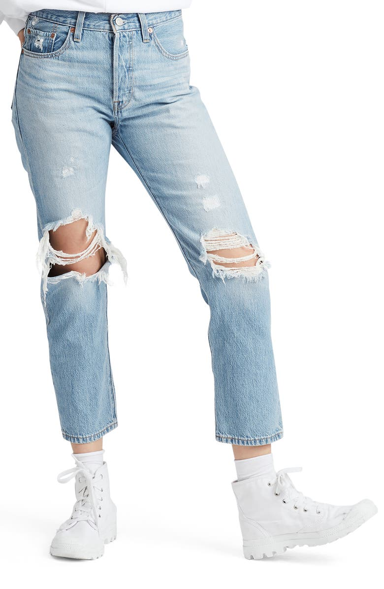 LEVI'S<SUP>®</SUP> 501<sup>®</sup> High Waist Ripped Crop Straight Leg Jeans, Main, color, 450