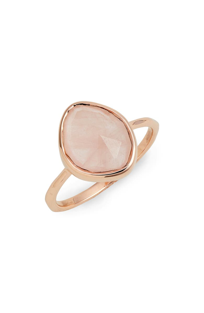 MONICA VINADER Siren Small Nugget Stacking Ring, Main, color, ROSE GOLD/ ROSE QUARTZ