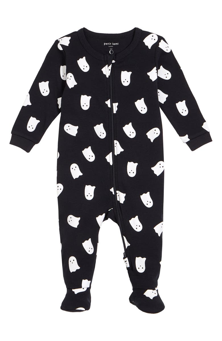 PETIT LEM Glow in the Dark Ghost Print Fitted Organic Cotton One-Piece Pajamas, Main, color, 900 BLACK