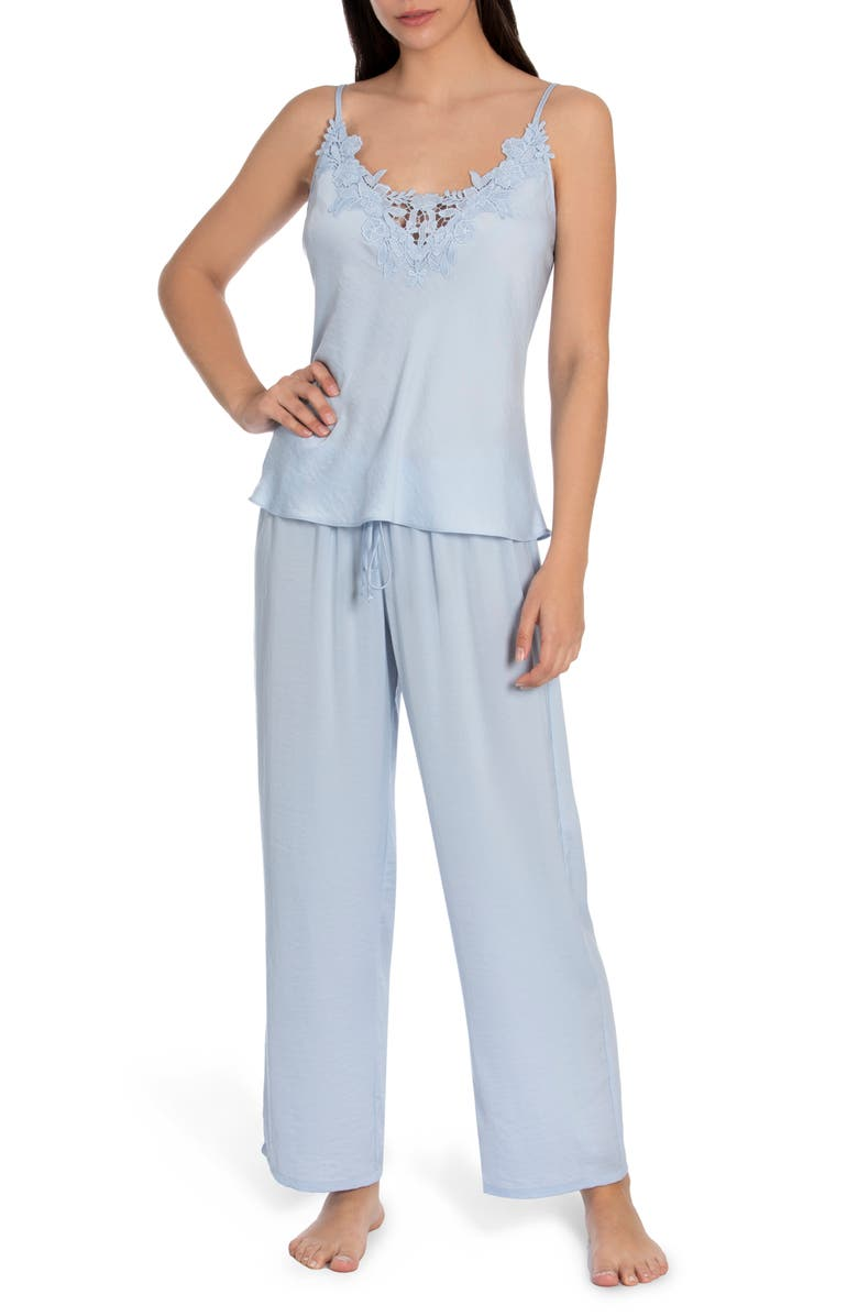 IN BLOOM BY JONQUIL Pearl Satin & Lace Pajamas, Main, color, SKY BLUE