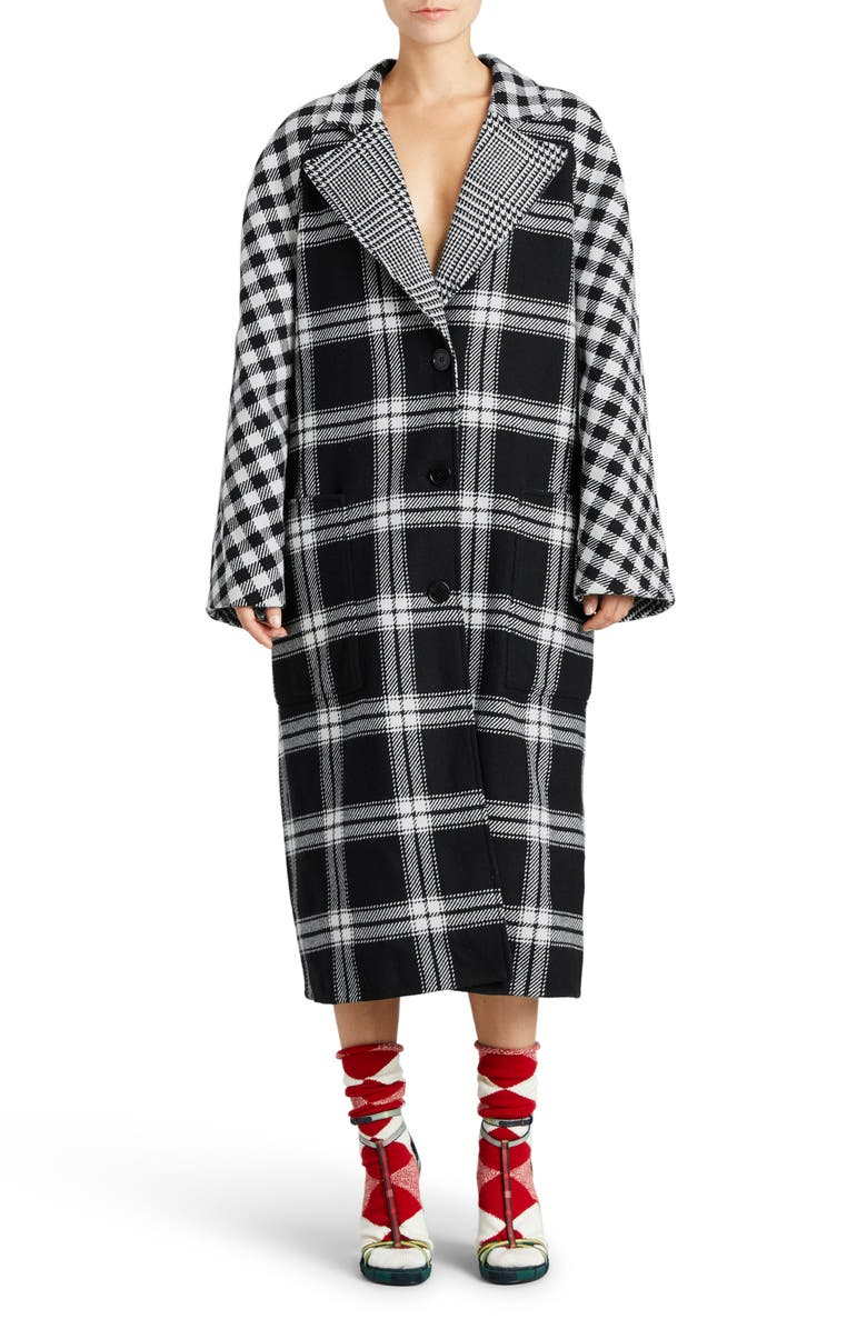 BURBERRY Tartan Wool & Cashmere Reversible Overcoat, Main, color, 001