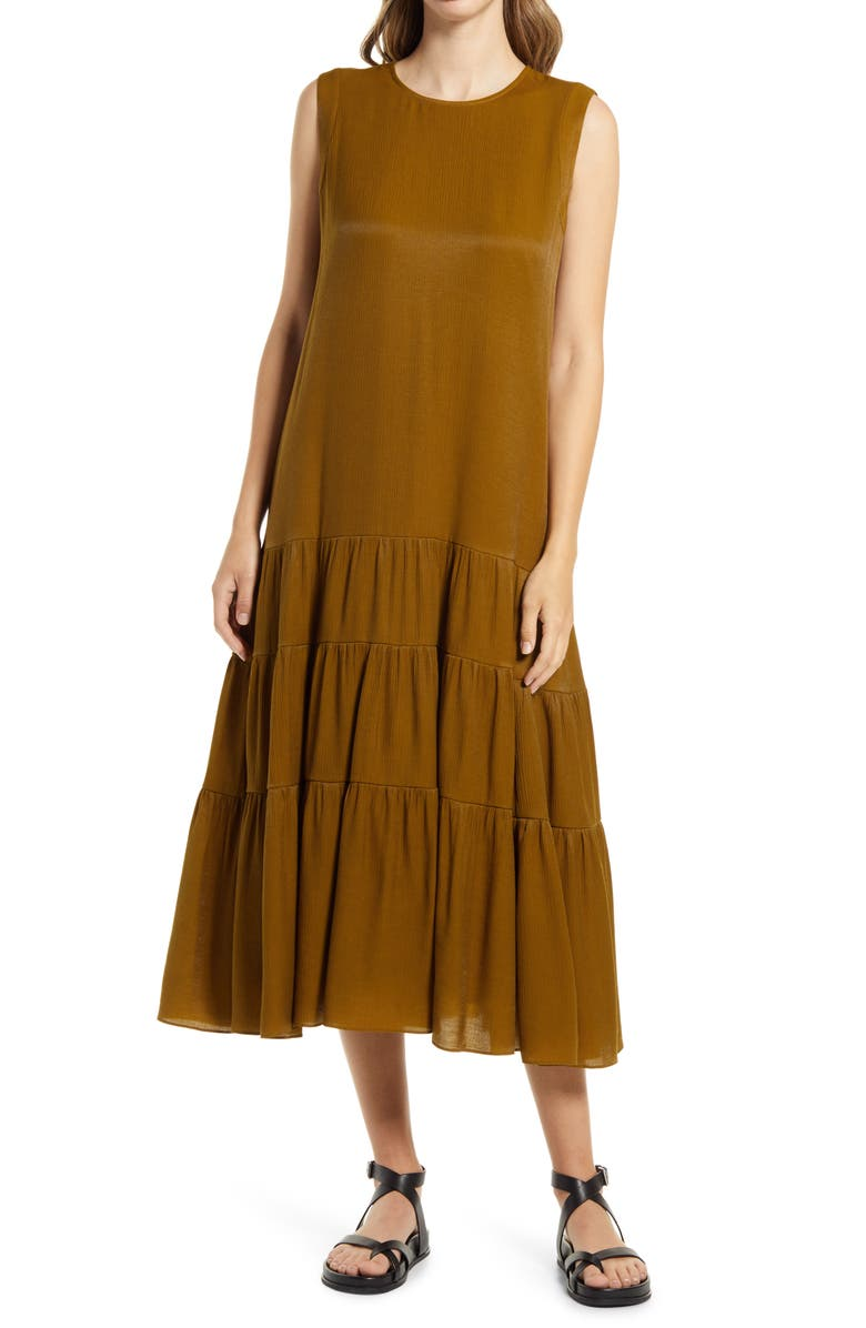 NORDSTROM Tiered Sleeveless Satin A-Line Dress, Main, color, OLIVE ESTATE