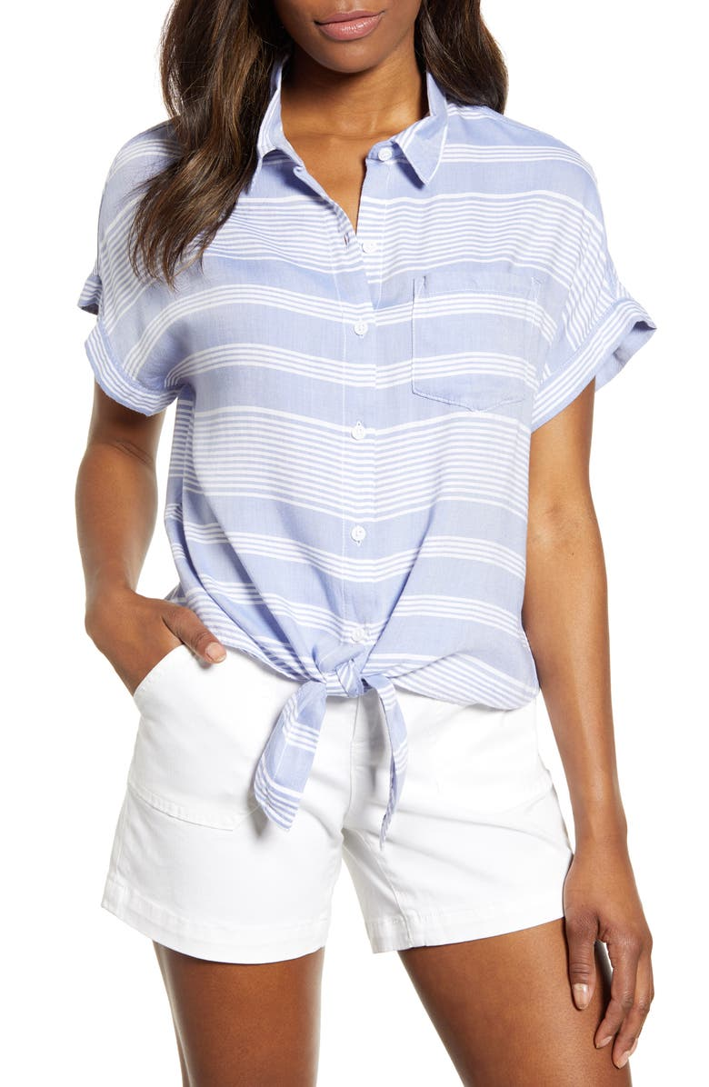 BEACHLUNCHLOUNGE Brooklyn Stripe Tie Front Shirt, Main, color, 460