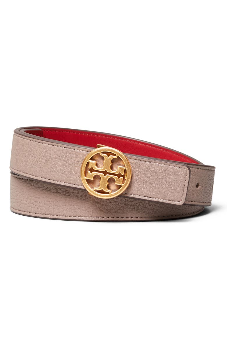 TORY BURCH T-Logo Reversible Leather Belt, Main, color, GRAY HERON/ RED/ GOLD