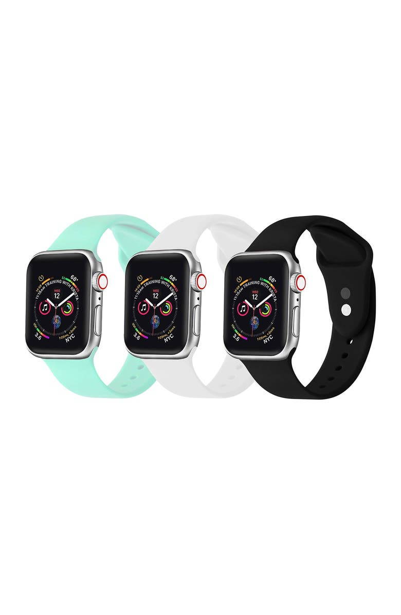 POSH TECH Black/White/Mint Silicone Watch Band 42mm/44mm Apple Series 1, 2, 3, 4, 5,  - Pack of 3, Main, color, BLACK/WHITE/MINT