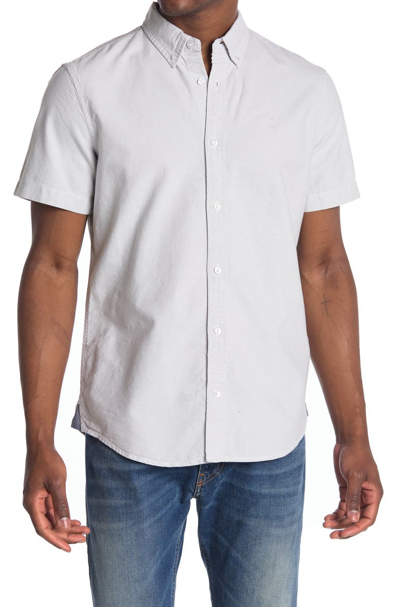 14TH AND UNION Short Sleeve Oxford Shirt, Main, color, GREY SILK-WHITE