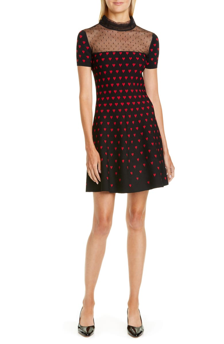 RED VALENTINO Point d'Esprit Yoke Heart Sweater Dress, Main, color, 001